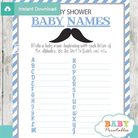 Baby Shower Baby Names by Blue Grey Mustache Baby Shower D113 Baby Printables