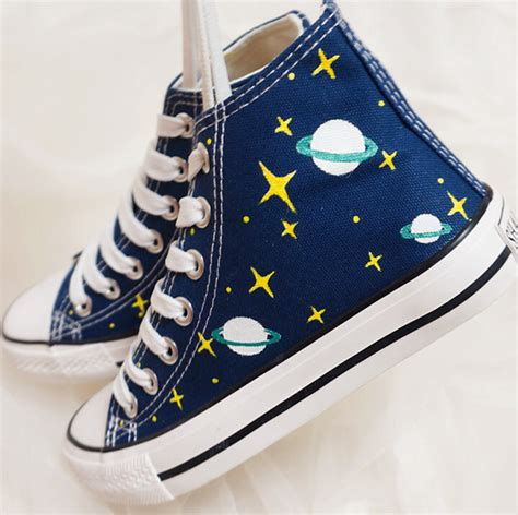 White Converse Cool Or Trendy by Shoes Blue Sneakers Galaxy Print Planets Cool Trendy