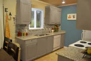 Grey Painted Kitchen Cabinets Small Kitchen Design With Exposed Backsplash And Gray Painted Kitchen Cabinet Plus Marble