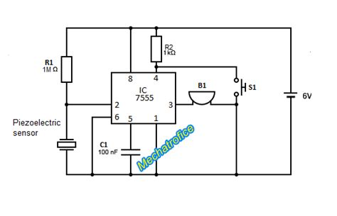 piezoelectric sensor circuit diagram piezoelectric sensor burglar alarm mechatrofice