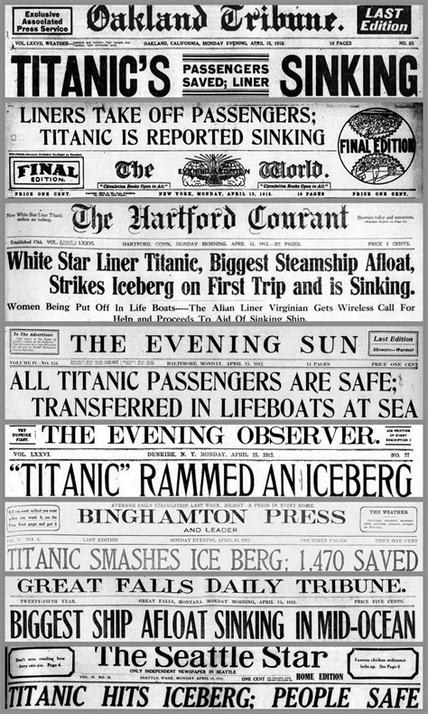 titanic newspaper front pages    stories