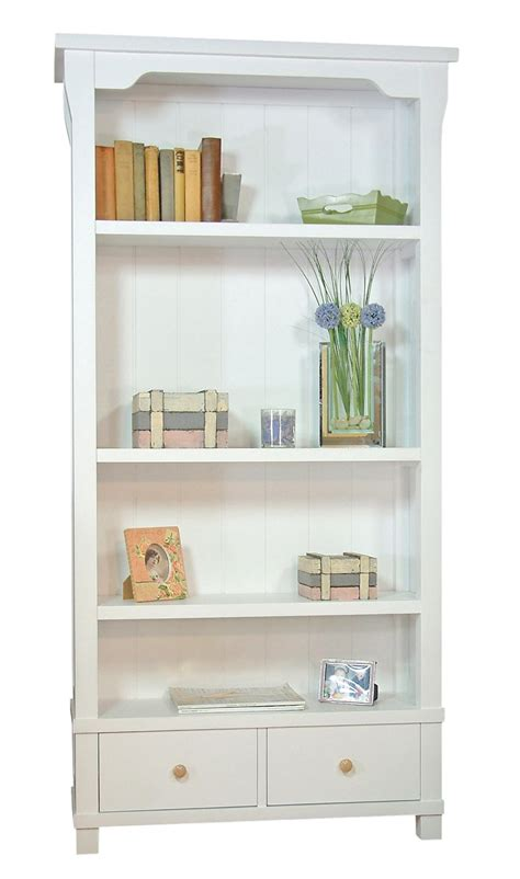 country bookshelves country white solid wood bookcase with two drawers home sweet home solid wood