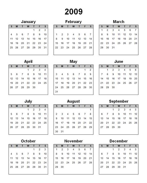 yearly calendar index of yearly calendars