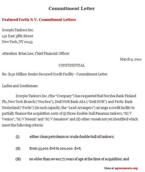 Insurance Commitment Letter Commitment Letter Agreement Sle Commitment Letter Agreement Template Agreements Org
