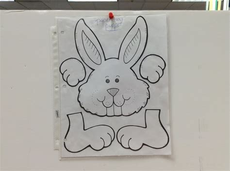 bunny paper bag puppet template work