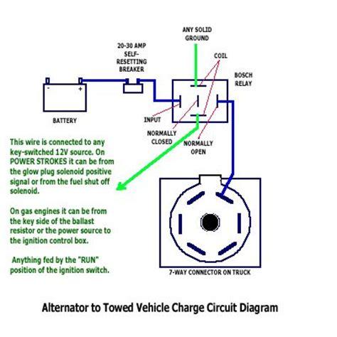 tow vehicle alternator  trailer battery wiring