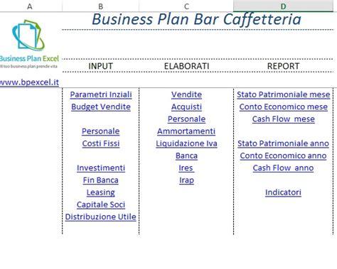 business plan bar un modello in excel gratuito da usare