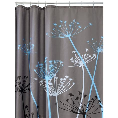 blue gray shower curtain thistle fabric bathroom shower curtain gray blue 72 inch