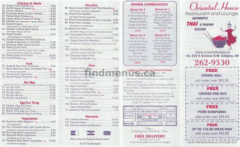 oriental house menu oriental house restaurant and lounge calgary find menus ca