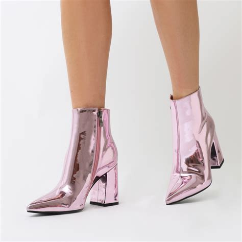 Boots Pink empire pointed toe ankle boots in pink metallic