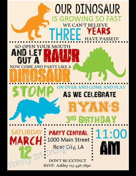 25  best Dinosaur birthday invitations ideas on Pinterest