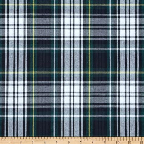 poly cotton plaid navy green yellow discount
