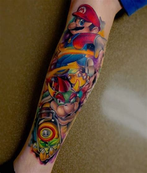 leg super mario tattoo sleeve best tattoo ideas gallery