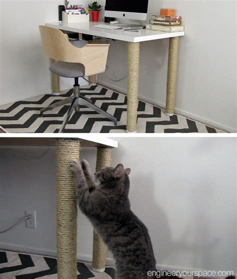 cat scratching couch solution ikea desk hack scratching post legs smart diy solutions