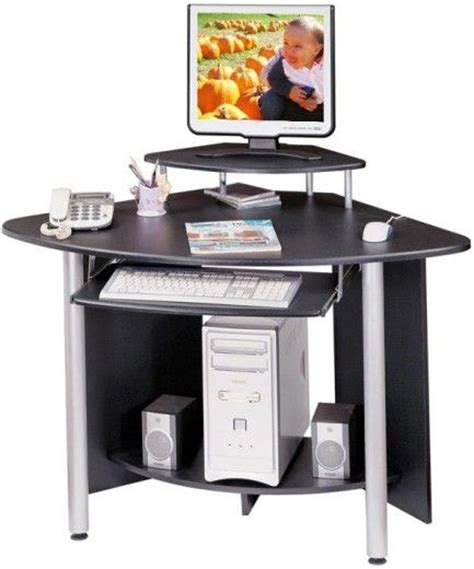 Corner Computer Desk With Printer Shelf Techni Mobili Rta Kb15 Corner Computer Desk Features A Pull Out Keyboard Shelf With Safety Stop