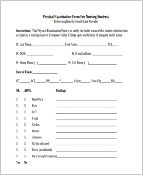 physical assessment card template physical assessment form sles 9 free documents in
