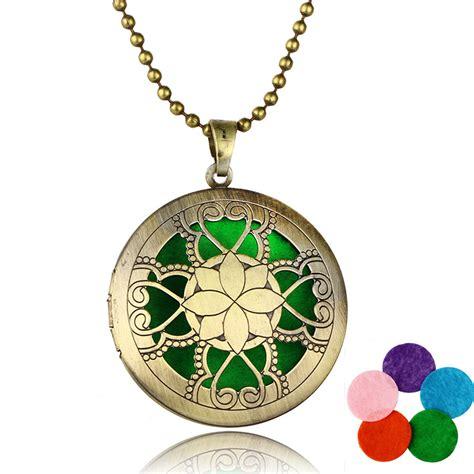 2016 antique lotus flower aromatherapy locket pendants necklaces perfume essential
