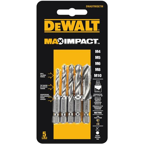 dewalt max impact metric drill tap set 5