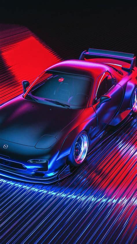 auto figure neon machine mazda car art rx