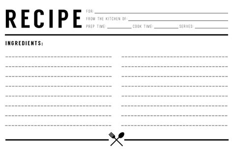 13 Recipe Card Templates Excel Pdf Formats Recipe Template