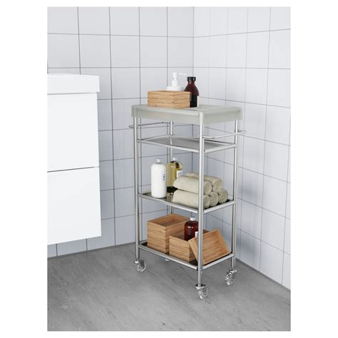 Bathroom Storage Trolley Grundtal Trolley Stainless Steel 48x24x77 Cm Ikea