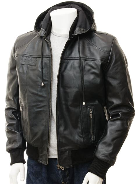 Hoodie Leather Jacket S Black Leather Hoodie Jacket Chelfham Caine
