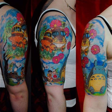 my neighbor totoro tattoo watercolor totoro anime on forearm