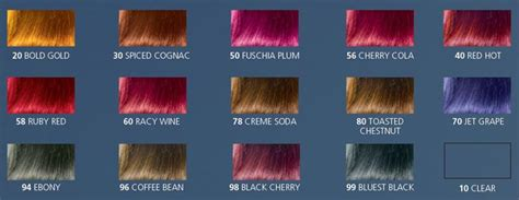 black cherry hair color chart jazzing hair color chart directions shades rinse