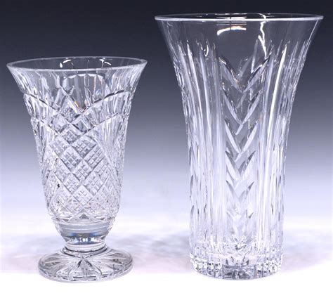 Large Waterford Vase by 2 Large Waterford Table Vases August