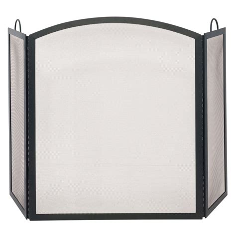 fireplace screen home depot uniflame black wrought iron medium single panel sparkguard