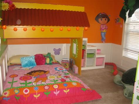 dora the explorer bedroom dora bedroom with loft play space kid s room pinterest