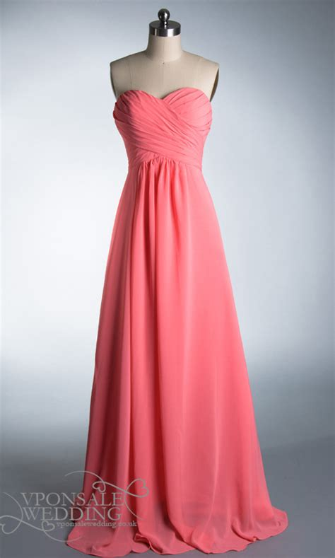pretty long coral strapless bridesmaid dress dvw0177