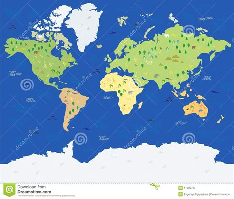 The Word card of the world with animals stock photos image 11200783