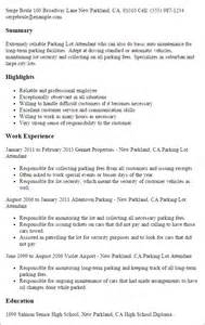 Lot Attendant Cover Letter by Professional Parking Lot Attendant Templates To Showcase Your Talent Myperfectresume