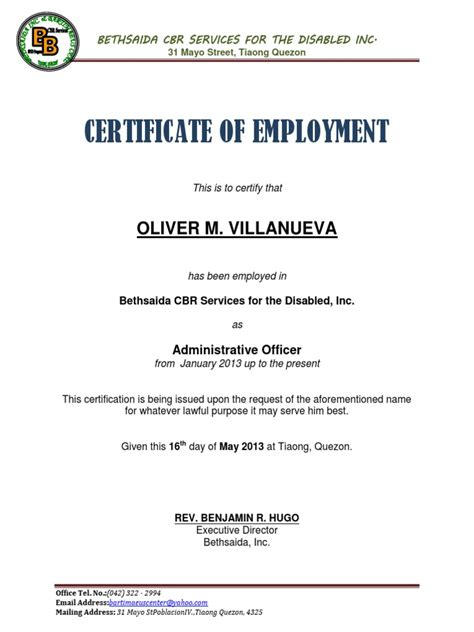 certification of employment template certificate of employment sle docx
