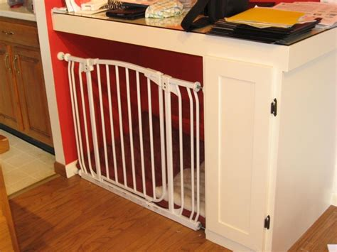diy indoor kennel turning a built in desk into an indoor crate with a simple kiddie gate why