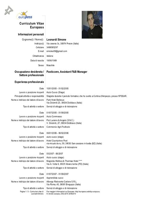 Formato Europeo Curriculum Vitae Esempio Europass Cv 110112 192734 Leonardi