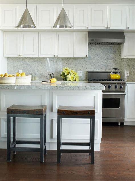 Modern Kitchen For Small Condo White Kitchen Cabinets Gray Granite Countertops Design Ideas
