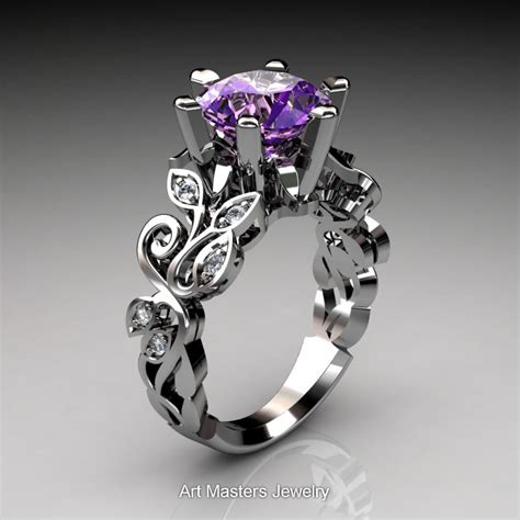 Amethyst 14 3 Ct nature inspired 14k white gold 3 0 ct amethyst