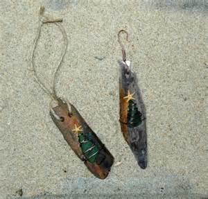 driftwood sea glass tree christmas ornament set of 2