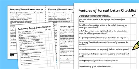 key features of the layout of a letter formal letter writing checklist formal letter writing