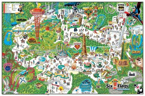 amusement parks california map six flags magic mountain theme park map california and