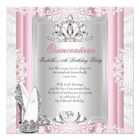 15 birthday card template quinceanera 15th birthday light pink shoes card zazzle
