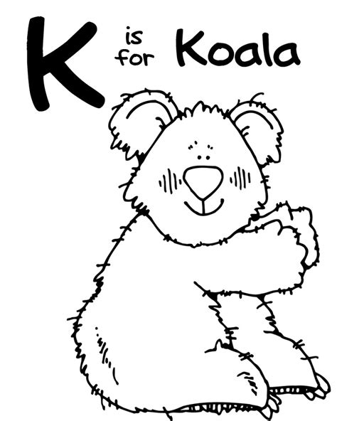K Animal Coloring Pages by We Being Letter K Kangaroo And Koala