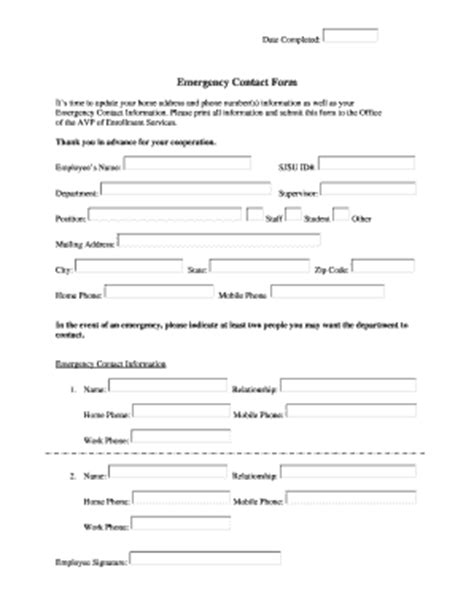 usda forest service business card template emergency contact form templates fillable printable