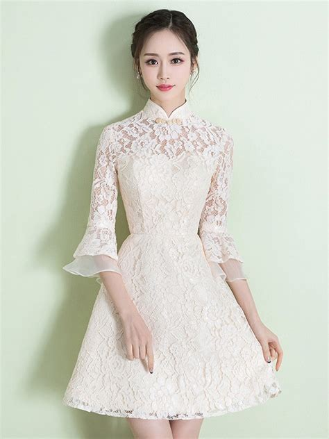 Lace Bell Sleeve A Line Dress a line lace qipao cheongsam dress with bell sleeves