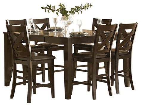 bar height dining room sets homelegance crown point 7 piece counter height dining room