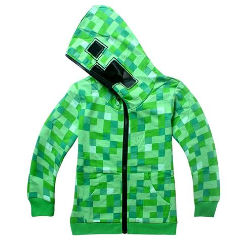 Vest Zipper Vest Rompi Minecraft Creeper uk stock minecraft creeper children s hoodie zip up jacket ebay