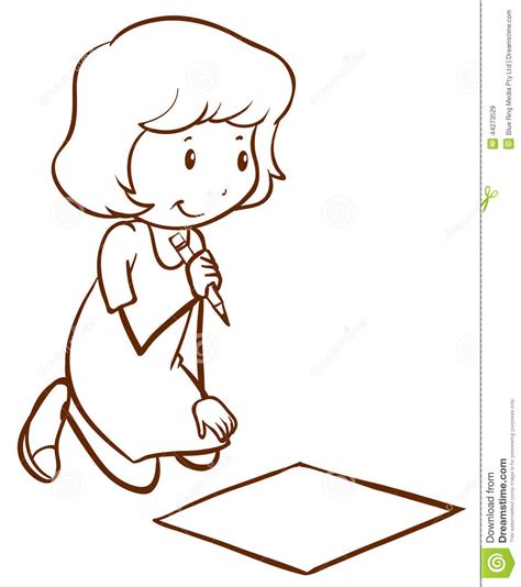 girl writing coloring page a simple drawing of a girl writing stock vector image