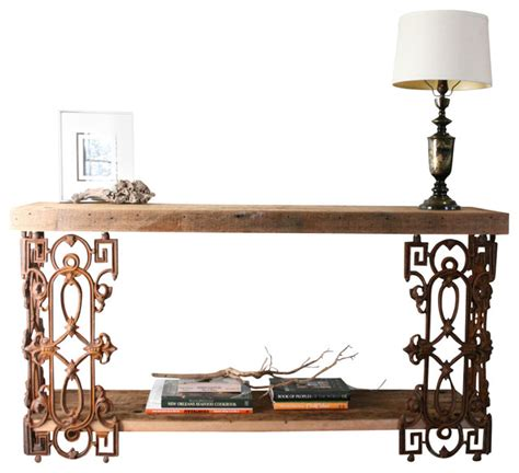 french country reclaimed wood folding wrought iron side piety table sofa table or writing desk made from reclaimed